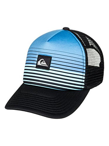 Quiksilver Boys Stripe Block Youth Trucker Hat Blue One Size