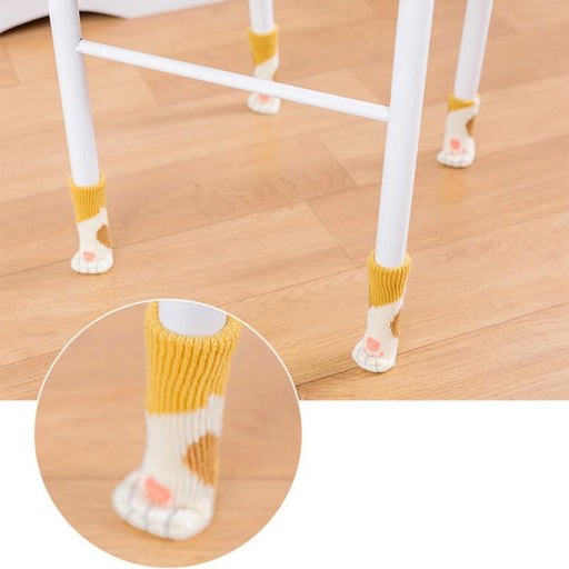 4PC prevent cat scratches knitting cat Chair Leg Socks Home Furniture Leg Floor Protectors Non-slip Table Legs cover provent cat