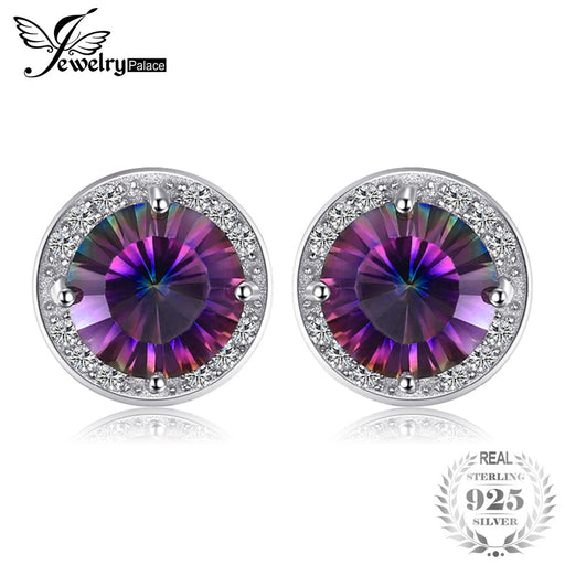 00d252dea 4ct Natural Rainbow Fire Mystic Topaz Stud Earrings Genuine Pure 925  Sterling Silver For Women Wholesale