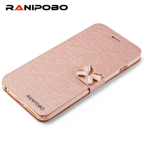 "5 5s Luxury Crystal bow-knot Leather Wallet Card Holder Flip Stand Case Cover For iphone 6/6S 4.7"" iphone 6S/6plus 5.5"" bowknot"