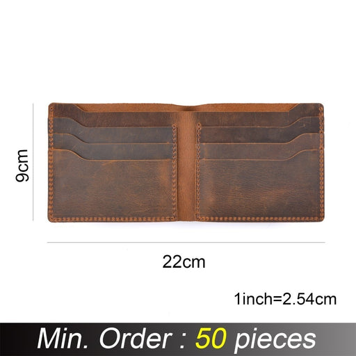 50 pieces / lot 22*9 cm Genuine Cow Leather Wallets Bifold Purse Vintage Crazy Horse Leather Men wallets 18Q-102