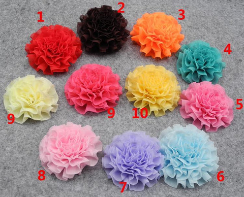 50pcs Chiffon flower dog head flower pet accessories BB clip hair jewelry  pet dog hairpin  customizable Yorkshire