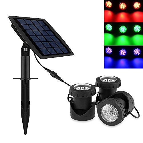 Powstro 3pcs Solar Powered Spotlights LEDs Super Bright Solar Powered Submersible Lamps RGB Color Changing Projection Light Outdoor LED Landscape Spotlight Solar Fish Tank Fountain Underwater Lighting