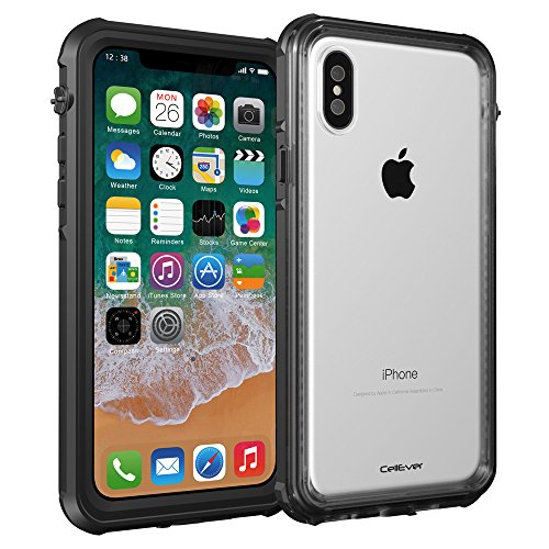 buy online 437aa 7ebe4 CellEver iPhone X Case Waterproof Shockproof IP68 Certified SandProof  SnowProof Full Body Protective Cover Fits Apple iPhone X - K7 Black
