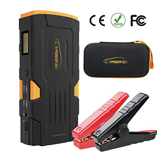 YABER 600A Peak 18000mAh Portable Car Jump Starter (Up to 6.0L Gas or 5.0 Diesel Engines) Auto Battery Booster Power Pack Phone Power Bank with Smart Charging Ports Built-in LED Emergency Flashlight