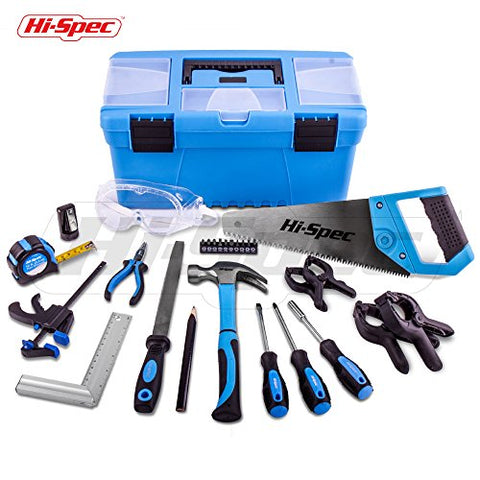 Hi-Spec 28 Piece Children's Real Tool Set Kit & Storage Box with Practical Hand Tools, Accessories & Eye Protection for Home DIY, Decorating & Woodworking in Storage Box - Great Kid's Gift Idea