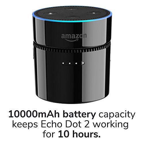 Echo Dot Battery Base Charger, GMYLE Portable 10000mAh Power Bank  Rechargeable Battery for 2nd Generation Echo Dot / Android Devices - Black
