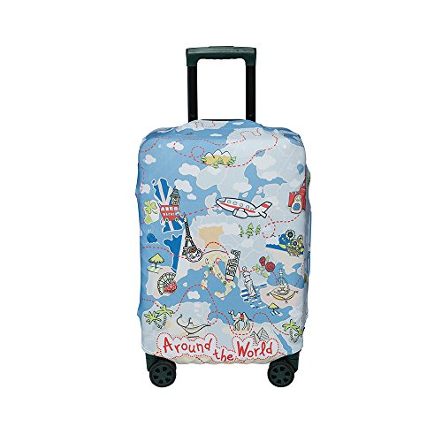 "Washable Foldable Luggage Cover Protector Fits 20/24/28 Inch Suitcase Covers … (M(24-26""), Airplane)"