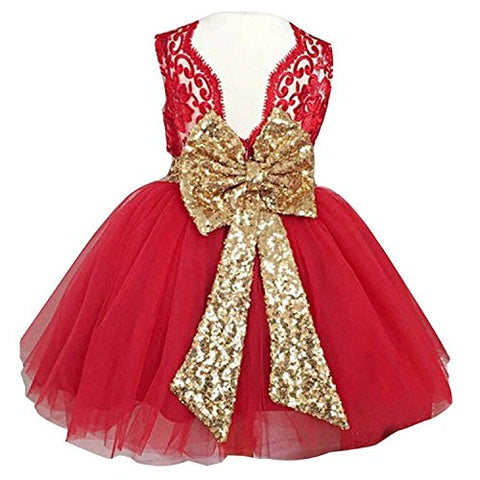Sunnygirls Newborn Toddler Baby Girls Sequins Bowknot Floral Princess Flower Girl Dresses (4T, Red)