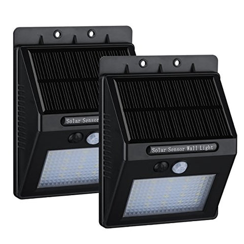 2 Pack 20 LED Solar Motion Sensor Light, Homitt LED Outdoor Security Sensor Light For Garden, Pathway, Deck Stair, 400 Lumens Super Bright, Waterproof, Intelligent Two Sensing Modes