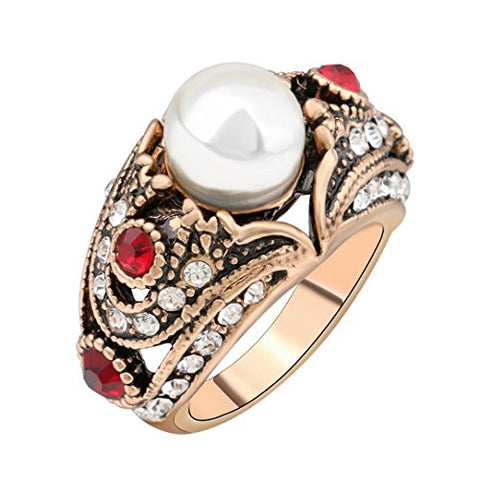PSEZY Vintage Pearl Ring Plating Ancient Gold Red Crystal Rings Bohemia Jewelry 8.0