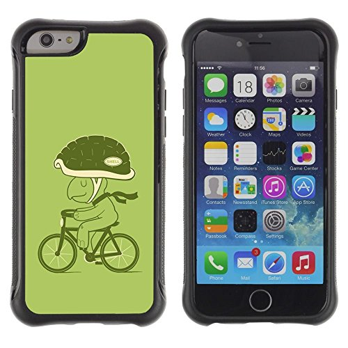 Pulsar iFace Series Soft TPU Skin Bumper Case Cover for Apple iPhone 6+ Plus(5.5 inches) , Bicycle Green Lifestyle Turtle Eco Art Helmet