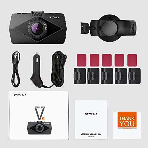 VETOMILE V2 Dash Cam 2 5K HD 1440P 30fps, 1080P 60fps, Car Dashboard Camera  Video Recorder 170° Wide Angle with Built-in WIFI, GPS, Parking Mode,
