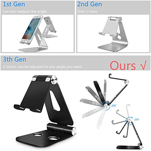 Foldable iPhone Stand, AICase Aluminum 270 Degree Multi-Angle Foldable  Stand Holder Dock for iPhone X, iPhone 8, 8 Plus, iPad, Samsung and all  android