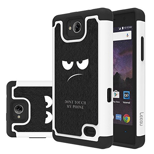 ZTE Majesty Pro Case, ZTE Tempo Case, ZTE Majesty Pro Plus Case, LEEGU  [Shock Absorption] Dual Layer Heavy Duty Protective Silicone Plastic Cover