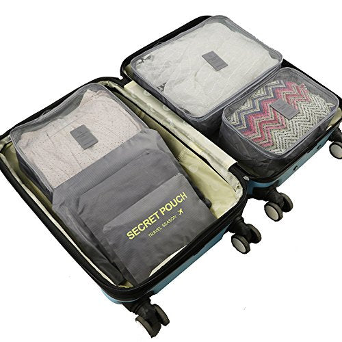 Woworld Packing Cubes Storage 6 Set Lightweight Waterproof Compression Handle Laundry Pouches Grey 6