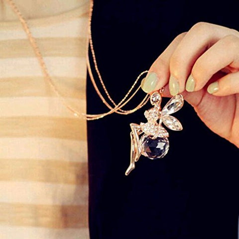 SOURBAN Women Angel Wings Pendant Long Chain Necklace Sweater Statement Vintage Jewelry