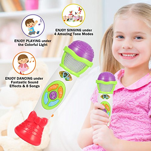 Lumiparty Kids Voice Recorder & Changer Microphone 8 Music Song Melody 4  Tone Pitch Mode Sing Dance Gift for Toddlers Record Baby Babble Rattle