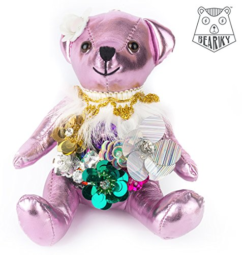 Beariky Boutique Leather Teddybears Luxury Charms for Women Bags, Purses, Totes and Backpacks Pom Pom like Keychain Pendant Doll with Gold Ring Handmade Fashion Accessory (Small, Pink Flowers)