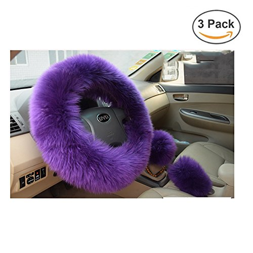 Younglingn Car Steering Wheel Cover Gear Shift Handbrake Fuzzy Cover 1 Set 3 Pcs Multi-colored with Winter Warm Faux Wool Fashion for Girl Women Ladies Universal Fit Most Car(Purple)