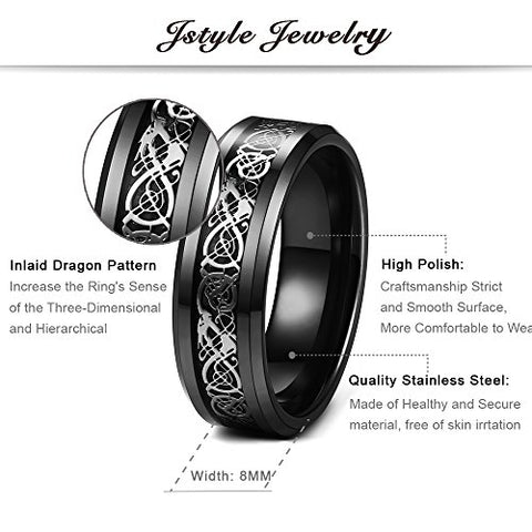 Jstyle 3 Pcs 8mm Stainless Steel Wedding Ring Set Celtic Dragon Rings for Men Size 9