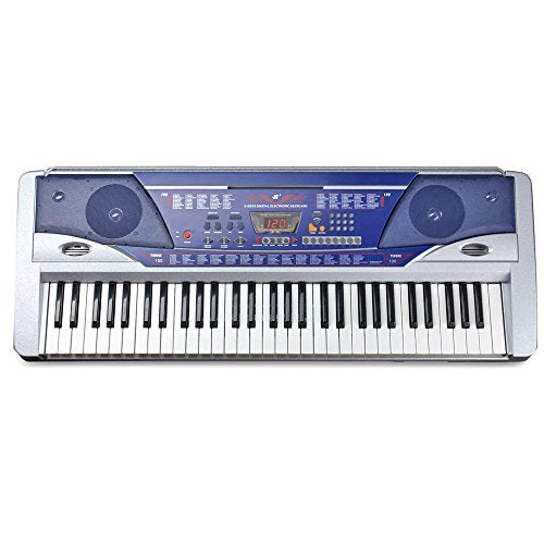 Flexzion Electric Piano Keyboard 61 Key Digital Key Board Portable With LCD Display Screen 100 Timbres and Power Supply Multi Function Musical Instrument Gift in Blue