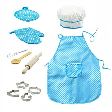 OMEYA Chef Set for Kids, Children Children Cooking Baking Kits Includes Kids Apron, Chef Hat, Cookie Cutters for Girls and Boys Role Play Great gift for kids age 3+ (Blue,11PCS)