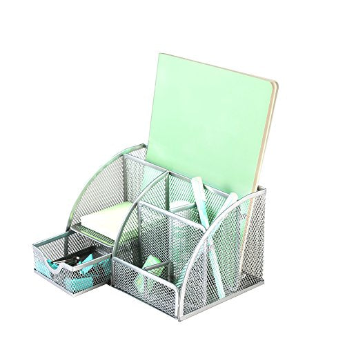 Xinyaoshi Office Supplies Organizer Desktop Pencil Holder Accessories Caddy 6 Compartments with drawer, (silver)