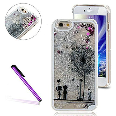 iPhone 6 Plus/6S Plus Case,EMAXELER 3D Solid Color Liquid Luxury Liquid Floating Star Moving Hard Protective Case for iPhone 6 Plus(2014 Release)/6S Plus(2015 Release) + Stylus Pen--Couple Dandelion