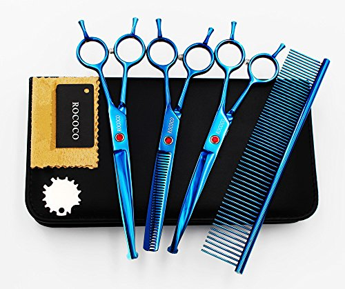 ROCOCO Professional Dog Grooming Scissors Set - Stainless Steel Rounded Tip Sharp Durable Shears with Pet Grooming Comb in Kit - Best Tools for Trimming Every Sensitive Dog and Cat (Blue)