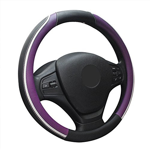ZATOOTO Microfiber Leather Auto Anti-Slip Car Steering Wheel Cover 14.5-15 inch Durable Universal 260 (purple)