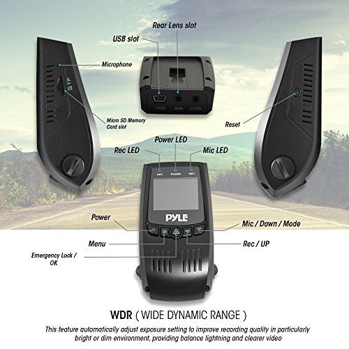 Pyle Upgraded DVR Dash Cam Kit - Digital Screen Vehicle Dual Camera Video  Recording System in Full HD 1080p and 32GB Memory w/ Motion Detect Parking