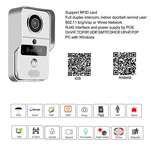 Smart Home 720 WiFi IP Video Door phone intercom Doorbell Wireless Unlock  Peephole Camera Doorbell Viewer IOS Android