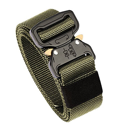 KingMoore Men's Tactical Belt Heavy Duty Webbing Belt Adjustable Military Style Nylon Belts with Metal Buckle (Army Green1, Medium)