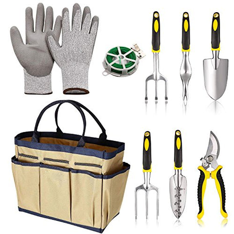Asatr 9 Piece Garden Tools Set - Gardening Tools Gloves Tote Gardening Gifts Tool Set with Garden Trowel Pruners Herb Garden Hand Tools with Storage Tote Beige