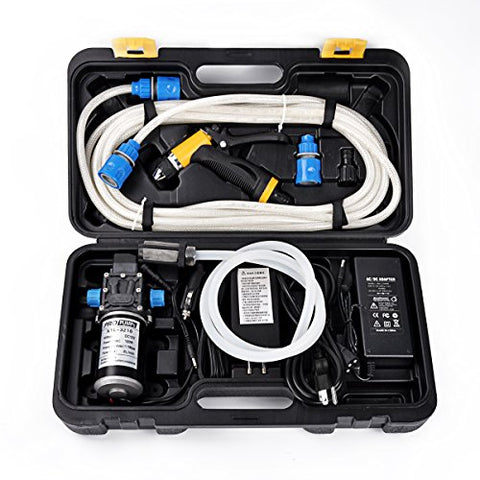 Dewel 2 in1 Portable 100W 200PSI High Pressure Car Home Garden Electric Washer Wash Pump 12V with Protection Box (100W with Car Charger and Power adapter)