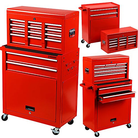 Händewerk Portable Top Chest Tool Storage Box Cabinet Sliding Drawers 2pcs Rolling Toolbox Organizer