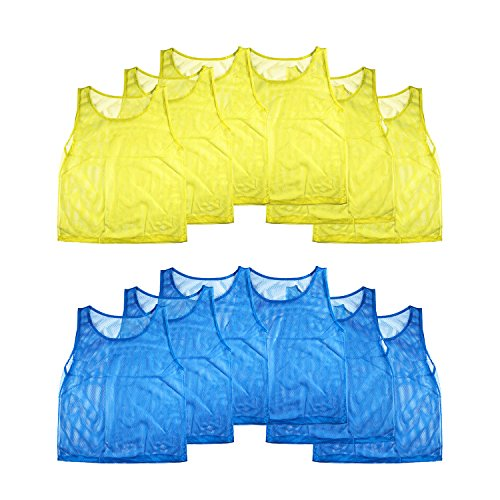 Nylon Mesh Scrimmage Team Practice Vests Pinnies Jerseys for Children Youth Sports Basketball, Soccer, Football, Volleyball (12 Jerseys)