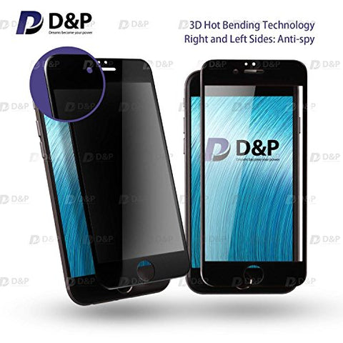 "D&P iPhone 6 Plus / iPhone 6s Plus (5.5"") [Privacy Shield] Front 3D Curve Fit Anti-Spy 9H Tempered Glass Screen Protector (Black Version) with Back PET Film, Front and Back items"