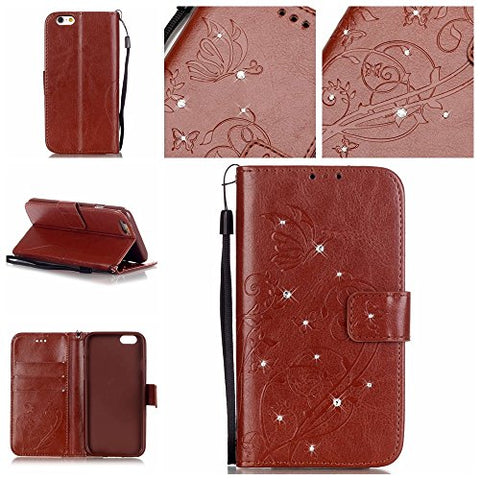 iPhone 6S Plus Case,Vandot Stand Flip Cover Magnetic PU Leather Flower Butterfly Embossed Wallet Case Diamond Shiny Sparkle Pattern for iPhone 6S Plus/6 Plus 5.5 inch+Glitter Dust Plug+USB Cable-Brown