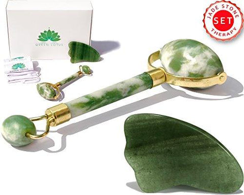 Premium Jade Roller & Gua Sha Pro Set | 100% Real Jade stone | Anti Aging Skin Care Tools Therapy | Skin Massager for face | Depuffing Eyes Bag Chi Roller Treatment | Facial Beauty tool by Green Lotus