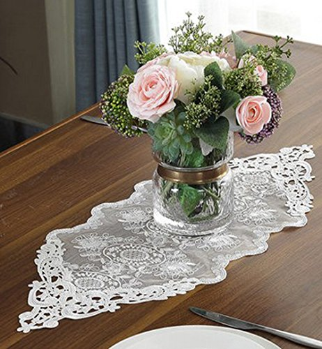 "WSHINE Lace Table Runner And Dresser Scarf Embroidered Flower Tablecloth Party Home Decor Supplies (white, 10.2"" 59.1"")"