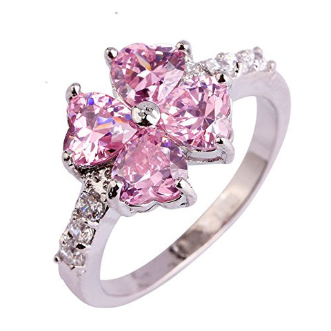 ARIMO Heart Cut Four Leaf Clover Lucky Jewelry Women Rings Pink Topaz Silver