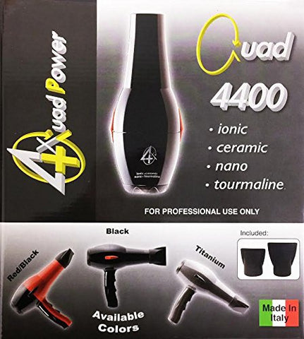 Quad Power 4400 Ceramic and Ionic Professional Hair Dryer, 1900 Watt, Made in Italy