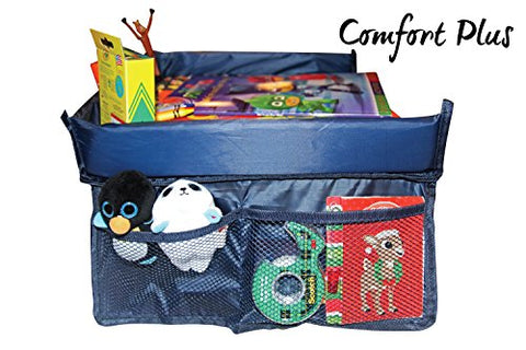 Kids Travel Tray Lap Tray by ComfortPLUS | Solid Surface for Drink Cup, Drawing, Snacks, Game iPad | Waterproof with Sturdy Side Pockets, Buckles | Baby Stroller Snack Tray | Full Warranty Included