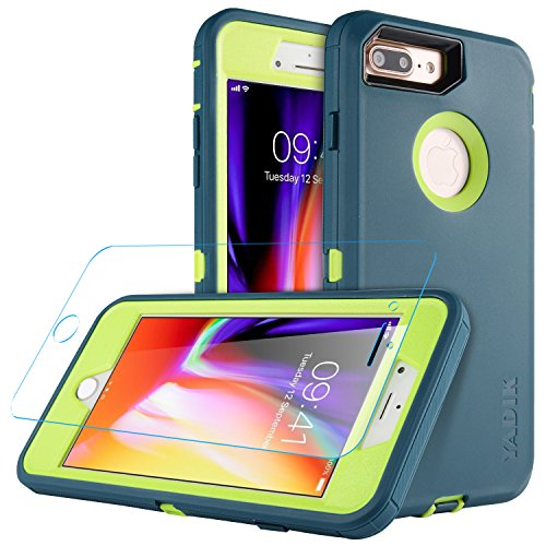 iPhone 7 Plus iPhone 8 plus 5 5 inch Case, Yadik Shock Absorption Heavy  Duty Military Grade Hybrid Silicone PC Case for iPhone 7 Plus (Navy green)