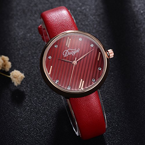 Womens Watches on Sale Clearance COOKI Women's Ladies Teen Girls Couple Fashion Dress Diamond Wrist Quartz Watch with Leather Band Casual Simple Analog Quartz Watches Classic Wristwatch X78 (Red)