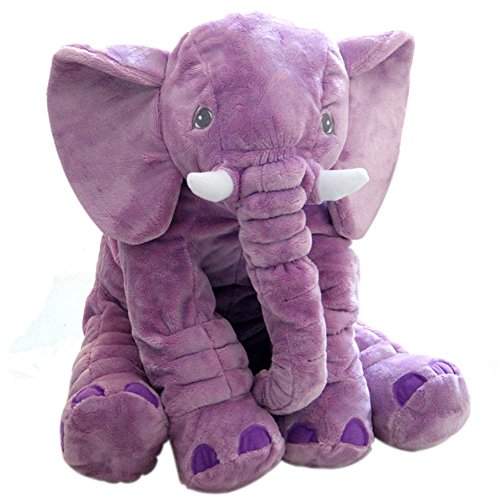 Elephant Stuffed Plush toy Cushion Cute Animals Cushion for Children's Gifts 40cm37cm25cm(Small, Purple)