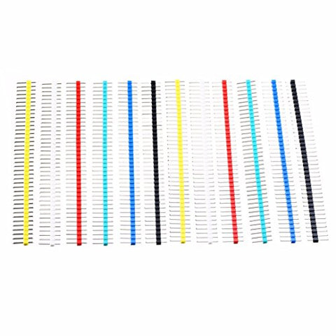WILLAI 12pcs 2.54mm Pitch Male Single Row Straight Strip Pin Header Nickel-Plated Iron 40Pin 6 Colors For PCB Panel