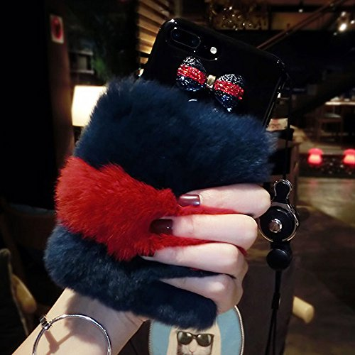 Punassi Luxury Winter Soft Warm Faux Rabbit Fur Protective Back Cover with Neck Strap Iphone Case for Girls Xmas Gift (iphone 6/6s(plus), Red&Blue)